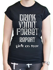 Funny Ladies Women's Holiday T-Shirt Drink Repeat Girls on tour 2014 Hen Party