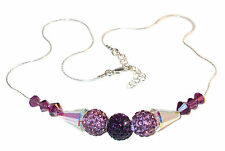 2-tone PURPLE Crystal Necklace Sterling Silver Disco Ball Swarovski Elements