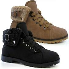 LADIES BIKER BOOTS WOMENS GIRLS SMART ANKLE DESERT HI TOPS FUR RIDING SHOES SIZE