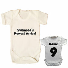 SWANSEA CITY PERSONALISED FOOTBALL BABY GROW CHOOSE YOUR NAME AND NUMBER