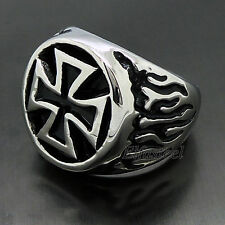 Mens Silver Flaming IRON Cross 316L Stainless Steel Biker Ring