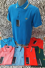 FRED PERRY Genuine M1200 Men's TWIN TIPPED Top Asstd Mesh Polo Shirt BNWT RRP£65