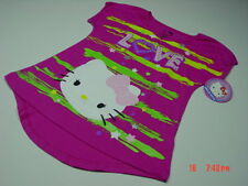 NWT Girls Hello Kitty Glitter Top Tee Shirt Love Stars Summer Trendy Style