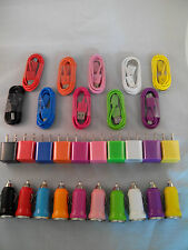 Wall +Car Charger +2 Micro USB Round Sync Data Cables Samsung Galaxy S4 S3 S2 LG