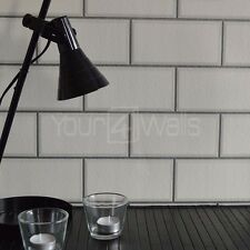 'Metro Tile' Ceramic Brick Tile effect wallpaper in White with silver grout
