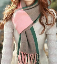 New Womens Autumn Winter Wool Shawl Collar Grid Long Scarf Neck Warmer W028