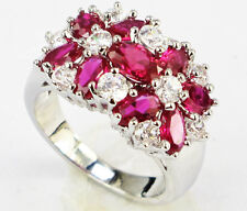Size 6,7,8,9,10 Jewelry Woman's 4.5CT Ruby 10KT White Gold Filled Ring