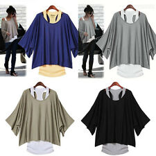 Women's Fashion Batwing Blouse Casual Loose Tops T-shirt +Tank Vest  Plus Size
