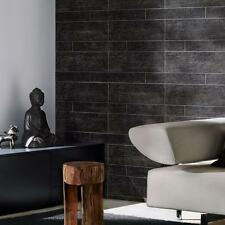 Charcoal/Black Large Tile Effect Wallpaper, Charcoal Brick Effect Wallpaper