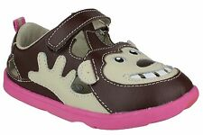 KIDS GIRLS INFANTS ZOOLIGANS SOFT LEATHER BOBO THE MONKEY BROWN SHOES FAB879