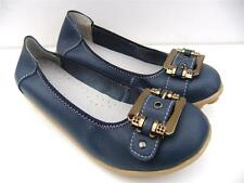 WOMENS Comfort Nodules Soft LEATHER Buckle FLATS Ballet SHOES Casual WORK