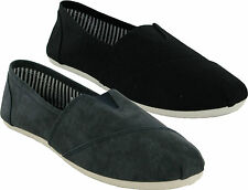 MENS FLAT CANVAS SLIP ON CAUSAL SUMMER PLIMSOLLS SHOES PUMP TRAINERS SIZES 6-12