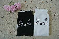 Vintage Style Cotton Ankle Socks with Cat Face