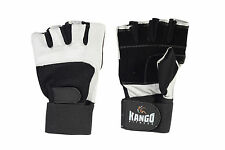 WEIGHT LIFTING PADDED GLOVES FITNESS TRAINING BODY BUILDING GYM LONG WRIST STRAP