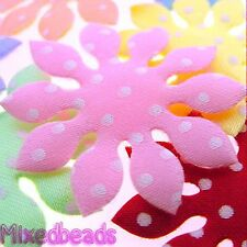 "*U PICK*70-100 Satin Polka Dot Daisy Flower 1 5/8"" applique padded fabric hair"