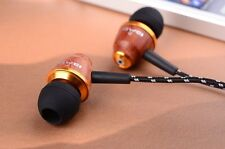 New Wooden In-Ear Headphones Earphones Earbuds For mp3/4 ipod Tablet HiFi sound