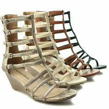 Snow Open Toe Dress Caged Gladiator Multi Buckle Low Wedge Heel Sandals