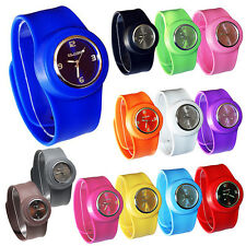 Slap On Snap Silicon Rubber Sports Fashion Watch Mens Womens Boys Girls Gift