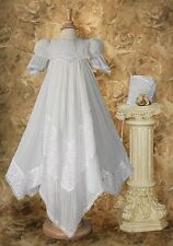Girls Christening Baptism Victorian Lace Gown Handkerchief Styled Hem / CO76