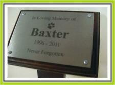 """A4 LASER ENGRAVING STAINLESS STEEL TREE MEMORIAL PLAQUE 18"""" STAKE DARK MAHOGANY"""