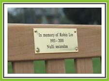 """4 x 3.5"""" ENGRAVED POLISHED BRASS BENCH PET MEMORIAL PLAQUE SIGN"""