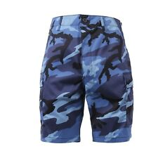 65218 Rothco Sky Blue Camouflage Military BDU Button Fly Cargo Shorts