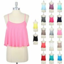 Cropped Flare Solid Plain Camisole Adjustable Spaghetti Strap Tank Top S M L
