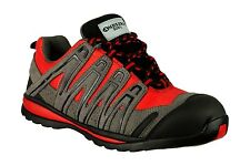 MENS AMBLERS COMPOSITE WORK BOOTS SAFETY TRAINERS GREY RED LIGHTWEIGHT FAB873