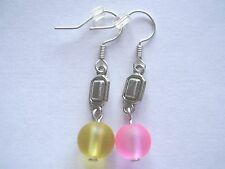 Frosted glass 8 mm round bead silver plated drop earrings – choose colour
