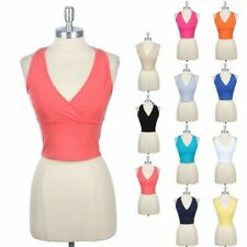 Halter V Neck Cropped Top Crossover Front Ribbon Tie on Back Cute Sexy S M L