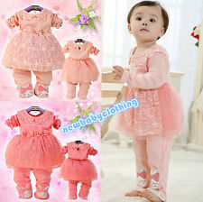 New Beautiful Lace Pearl Baby Girls Clothes 2pcs/set Dress+Pants Toddler Outfits