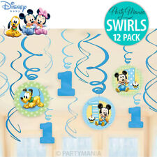 MICKEY MOUSE OR MINNIE MOUSE 1ST BIRTHDAY PARTY SUPPLIES SWIRL DECORATIONS