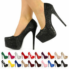 NEW WOMENS LADIES HIGH HEELS STILETTO PLATFORM COURT SHOES SIZE UK 3 4 5 6 7 8