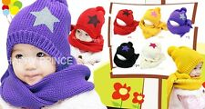 Baby Kids Boy Girl Winter Thick Warm Knitted Hat Beanie Cap Scarf Shawl Sets