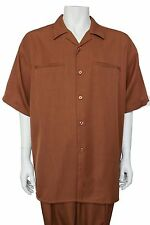 Men's 2 Piece Set Summer Leisure Suit, Come with Pants Solid Rust Color by Verno