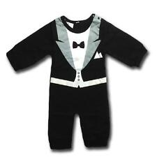 BABY BOY SUIT ROMPER 00 0 1 2 Size Onesie Outfit Cotton Black Toddler Boys Suits