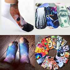 3D Printed Unisex Low Cut Ankle Socks Multiple Colors Tiger Cat Stars WHF193