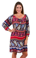 Spirituelle Eva Rayon Dress, Above the knee, Long Sleeve, Red Paisley S - XL