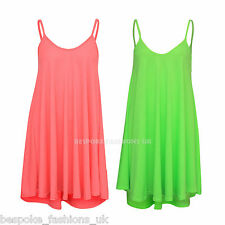 New Ladies Womens Bright Neon Plain Cami Strap Sleeveless Swing Dress Top SM ML