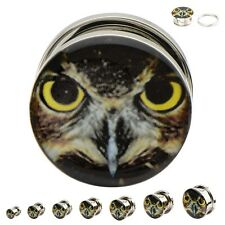 Surgical Steel Screw Fit Plugs with an Owl Logo. Sold as a pair!