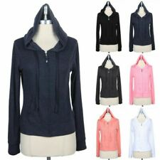 Womens Hooded Long Sleeve Full Front Zip Up Jacket Front Pockets Cotton S M L