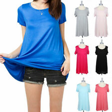 Plain Solid Short Sleeve A-Line Tunic Top Comfortable Fit Casual Rayon S M L