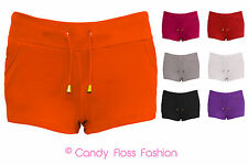 NEW WOMENS LADIES COLOURED GYM SUMMER HOTPANT POCKET JERSEY SHORTS SIZES 6-14