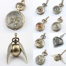 Vintage Bronze Steampunk Quartz Necklace Chain Pendant Pocket Watch Round Hot