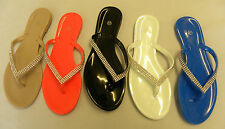 WOMENS DIAMANTE JELLY LADIES FLIP FLOP TOE POST FLAT SANDALS SHOES SIZE3-8