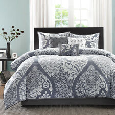 BEAUTIFUL MODERN CONTEMPORARY BLACK GREY WHITE FLORAL CHIC TEXTURE COMFORTER SET