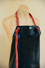 Black and Red Shiny Wetlook Fetish Thick Rubber Latex Overall Apron Japan Brand