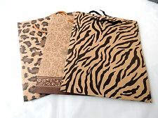 48 Zebra, Leopard, Damask Print Kraft Paper 10x8x3 inch Tote Bags with Handles