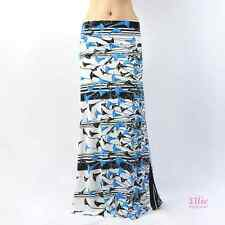 Floral blue/black/white high waist fold maxi long skirt ( S/M/L/X )