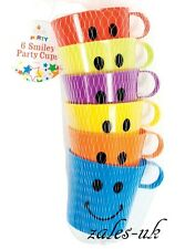 CHILDREN KIDS SMILEY MUGS CUPS WITH HANDLE FUN HOME CAMPING TRAVEL PLASTIC BEAKE